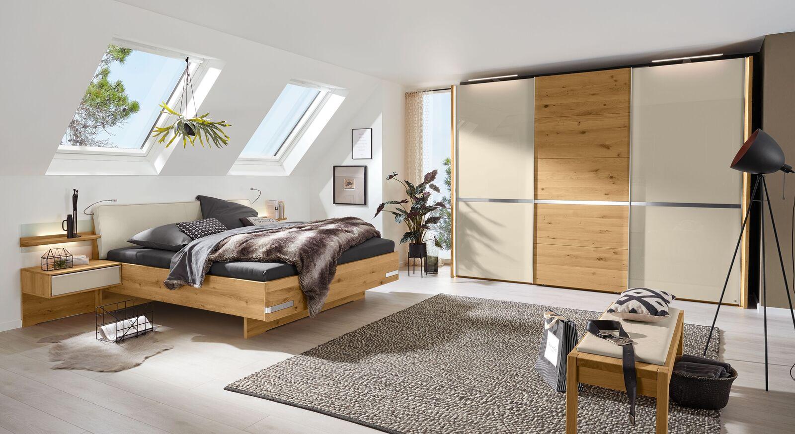 MUSTERRING Bett Savona 2.0 mit Polsterkopfteil und passenden Möbeln