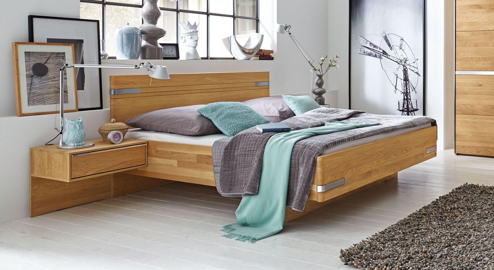 MUSTERRING Bett Savona aus massiver Eiche natur