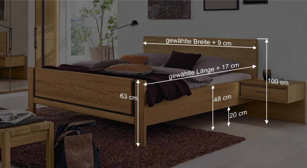 Bemaßungsgrafik zum Musterring Bett Sorrent