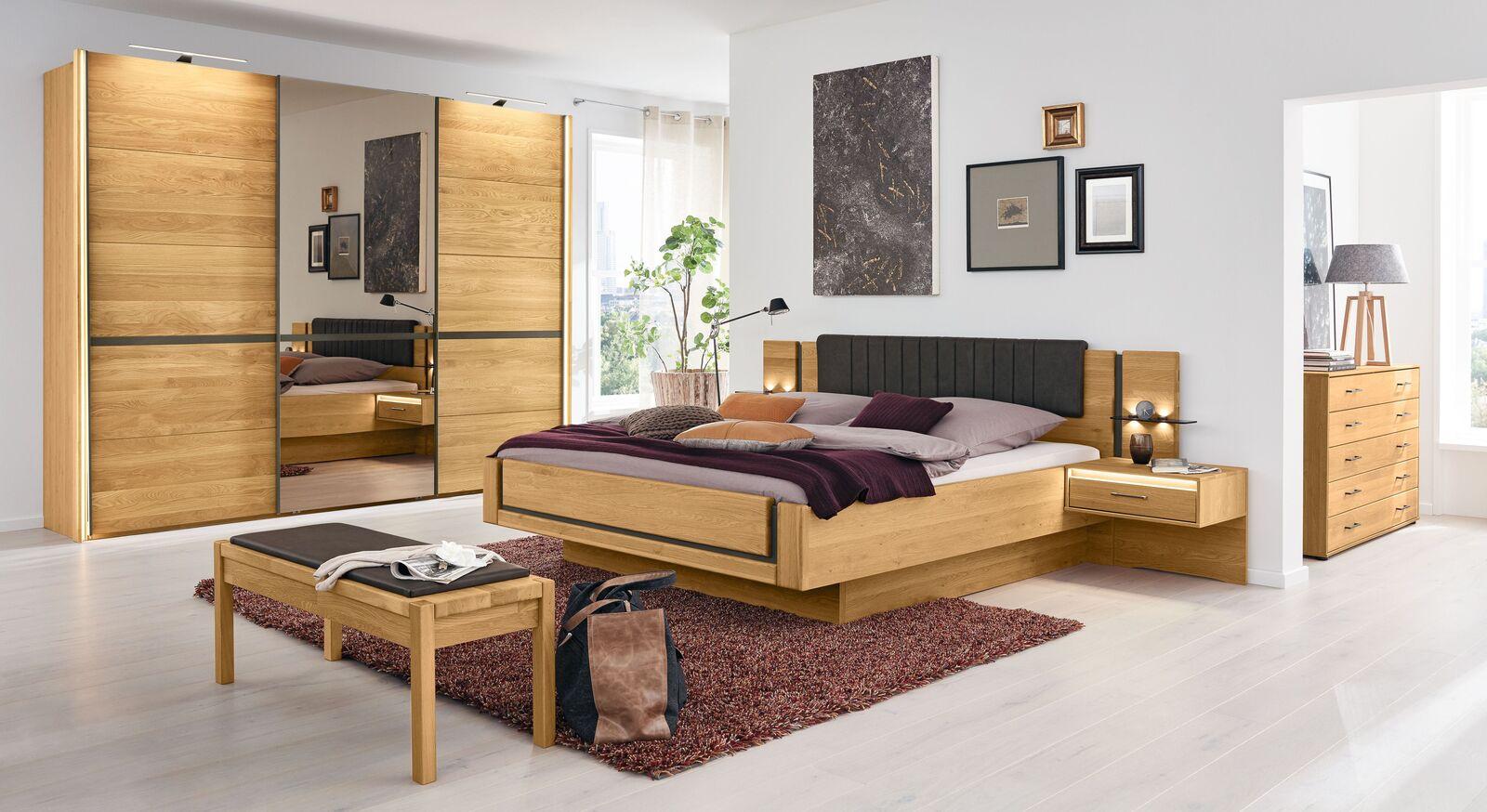 MUSTERRING Bett Sorrent in Schwebeoptik mit passenden Beimöbeln