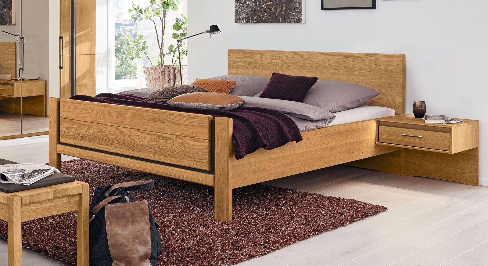 Elegantes MUSTERRING Bett Sorrent aus teilmassivem Eichenholz