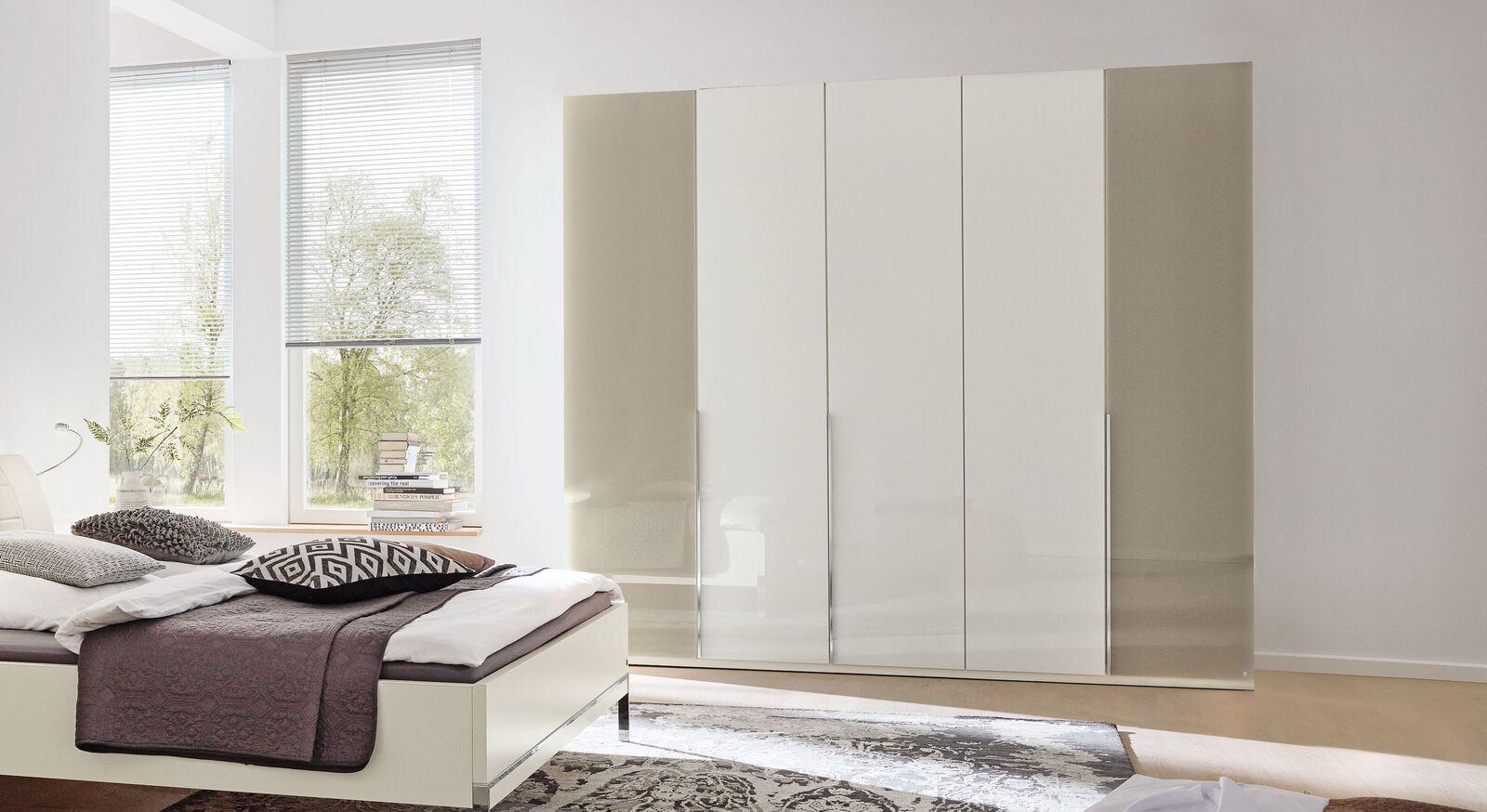 MUSTERRING Drehtüren-Kleiderschrank San Diego Weiß mit Glasfront