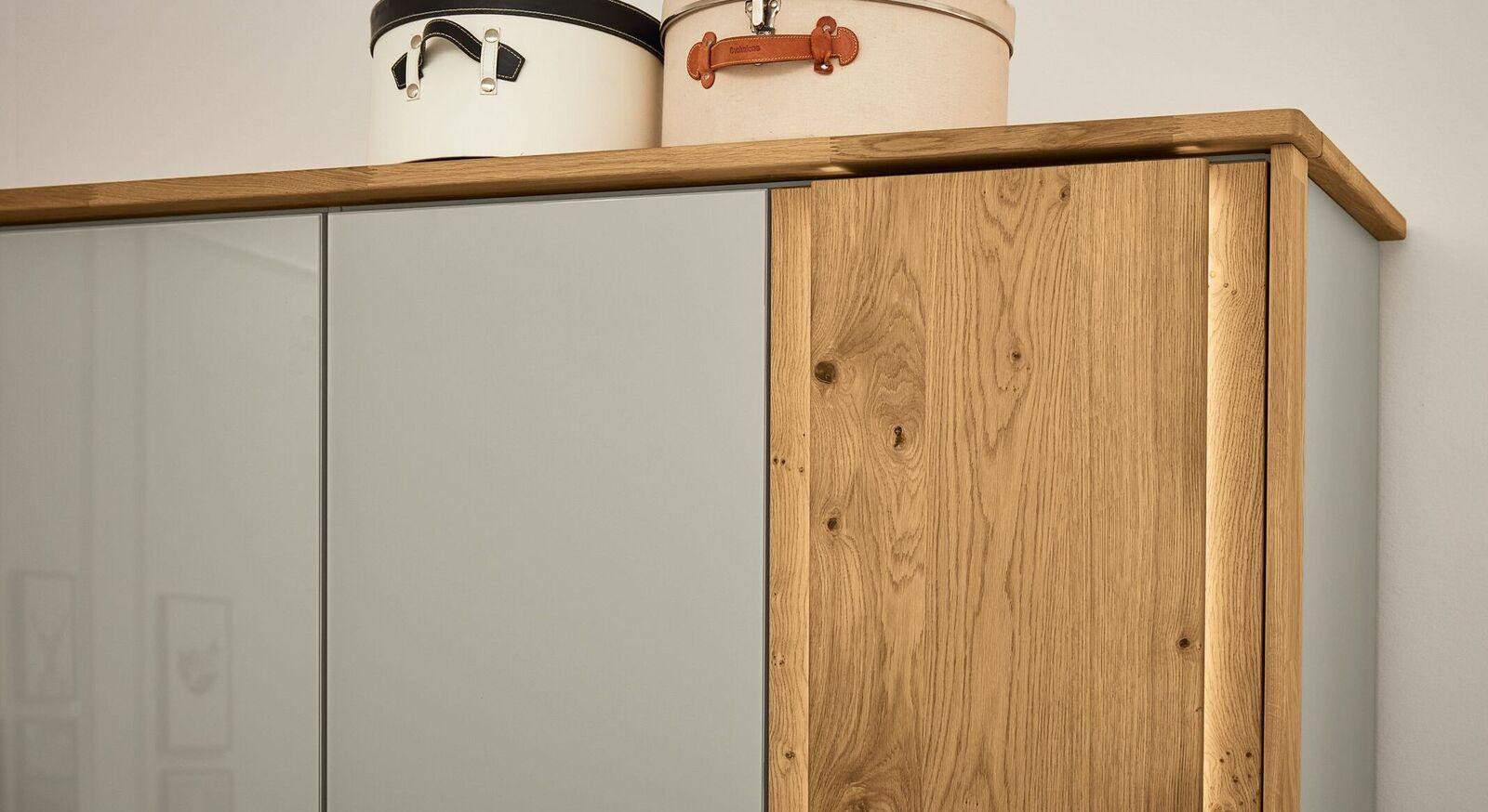 MUSTERRING Drehtüren-Kleiderschrank Saphira kieselgrau mit Passepartout-Rahmen