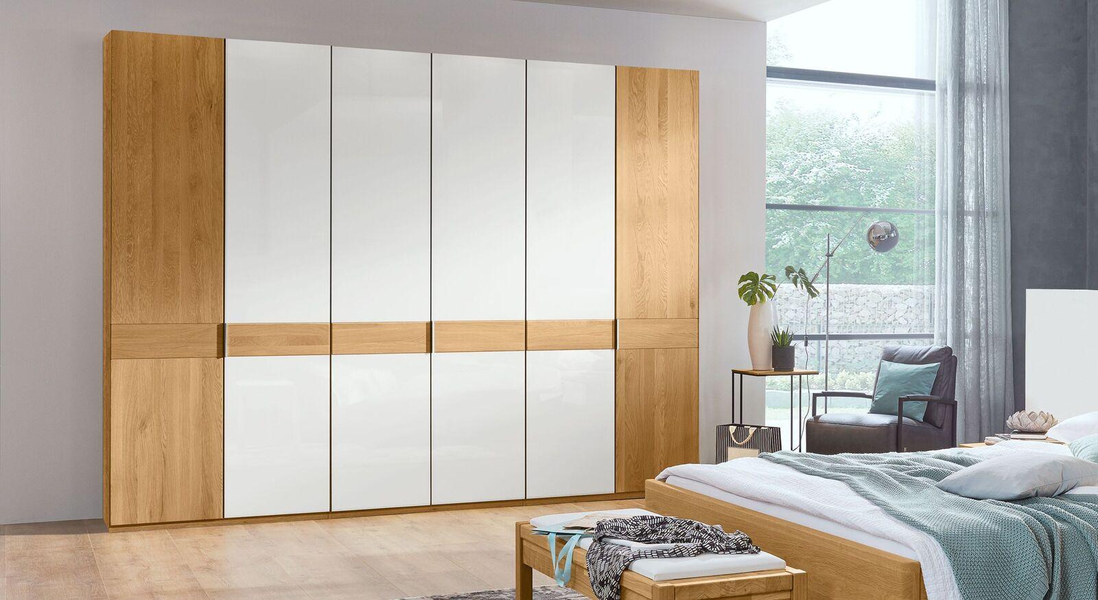 MUSTERRING Drehtüren-Kleiderschrank Savona Weiß mit Glas-Eiche-Front