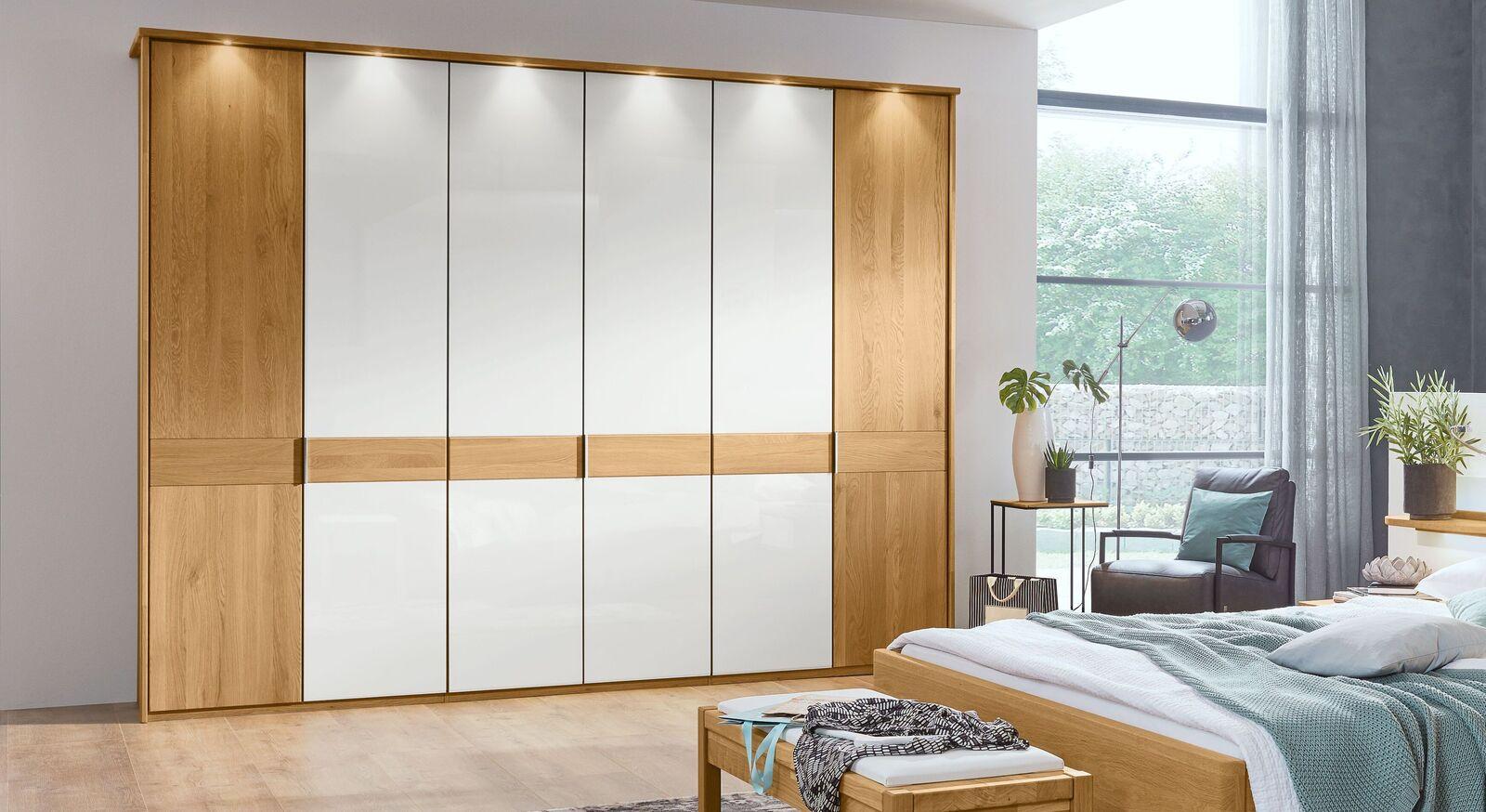 MUSTERRING Drehtüren-Kleiderschrank Savona Weiß mit optionaler Beleuchtung