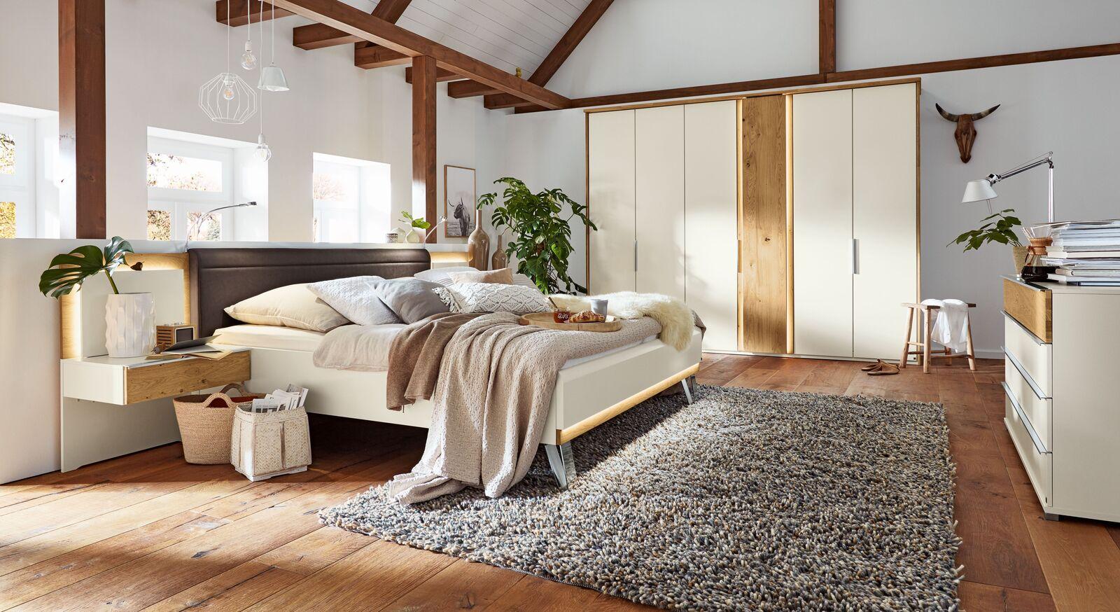 Elegantes Design-Musterring Komplett-Schlafzimmer Saphira weiß