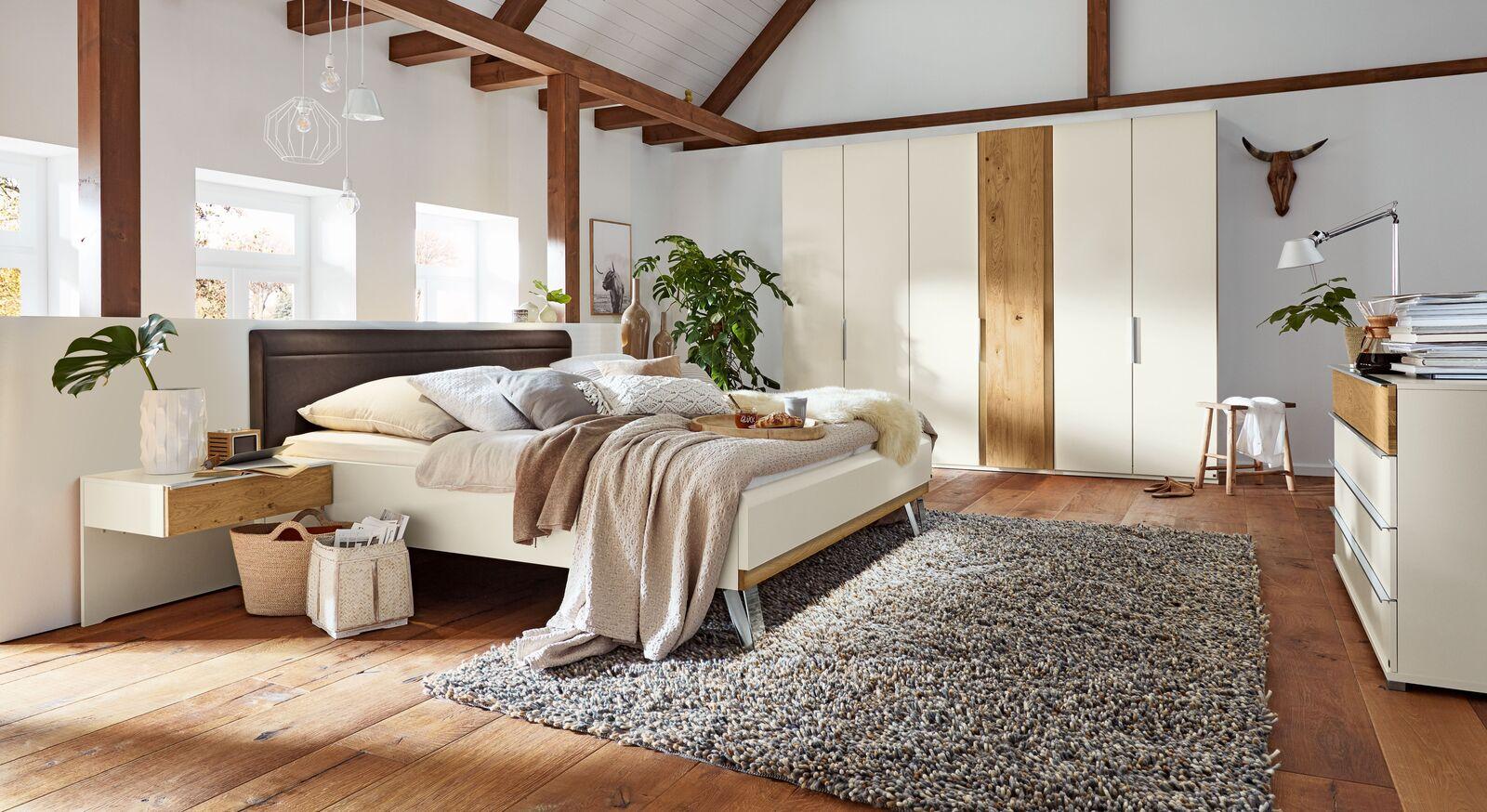 Elegantes Musterring Komplett-Schlafzimmer Saphira weiß