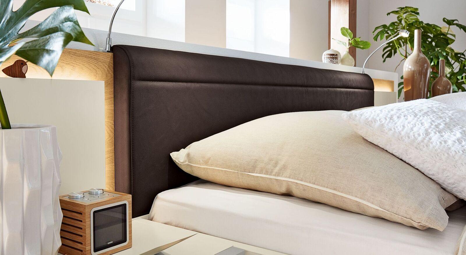 Musterring Bett Saphira Weiß mit Kunstleder-Kopfteil