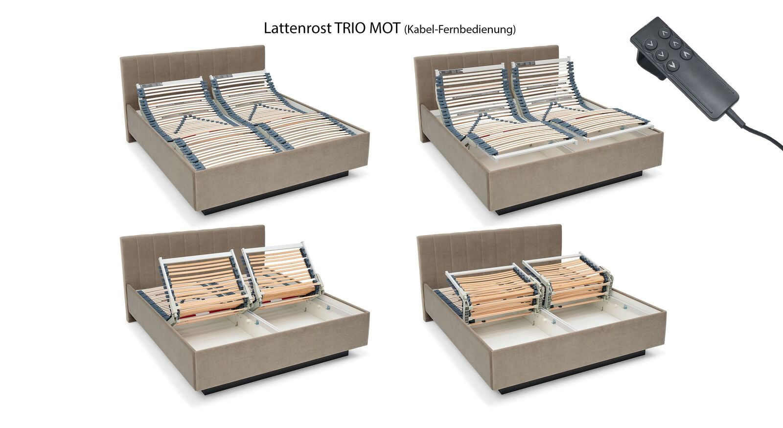 Elektrischer MUSTERRING Lattenrost TRIO MOT mit Kabelfernbedienung