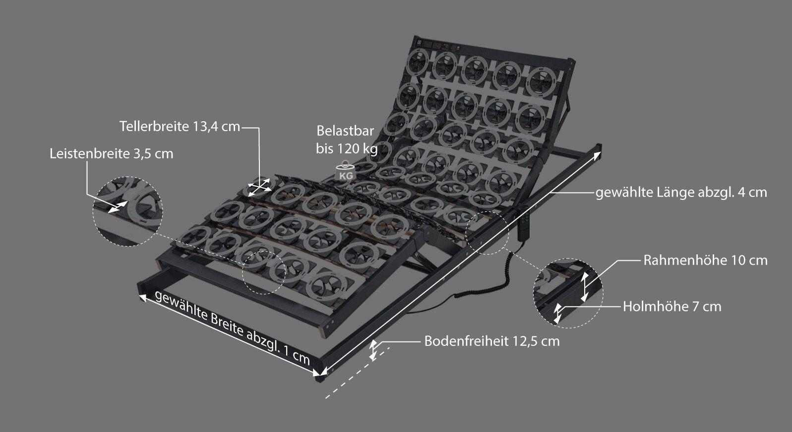 Bemaßungsgrafik zum Musterring Motor Tellerlattenrost orthomatic fhr 100