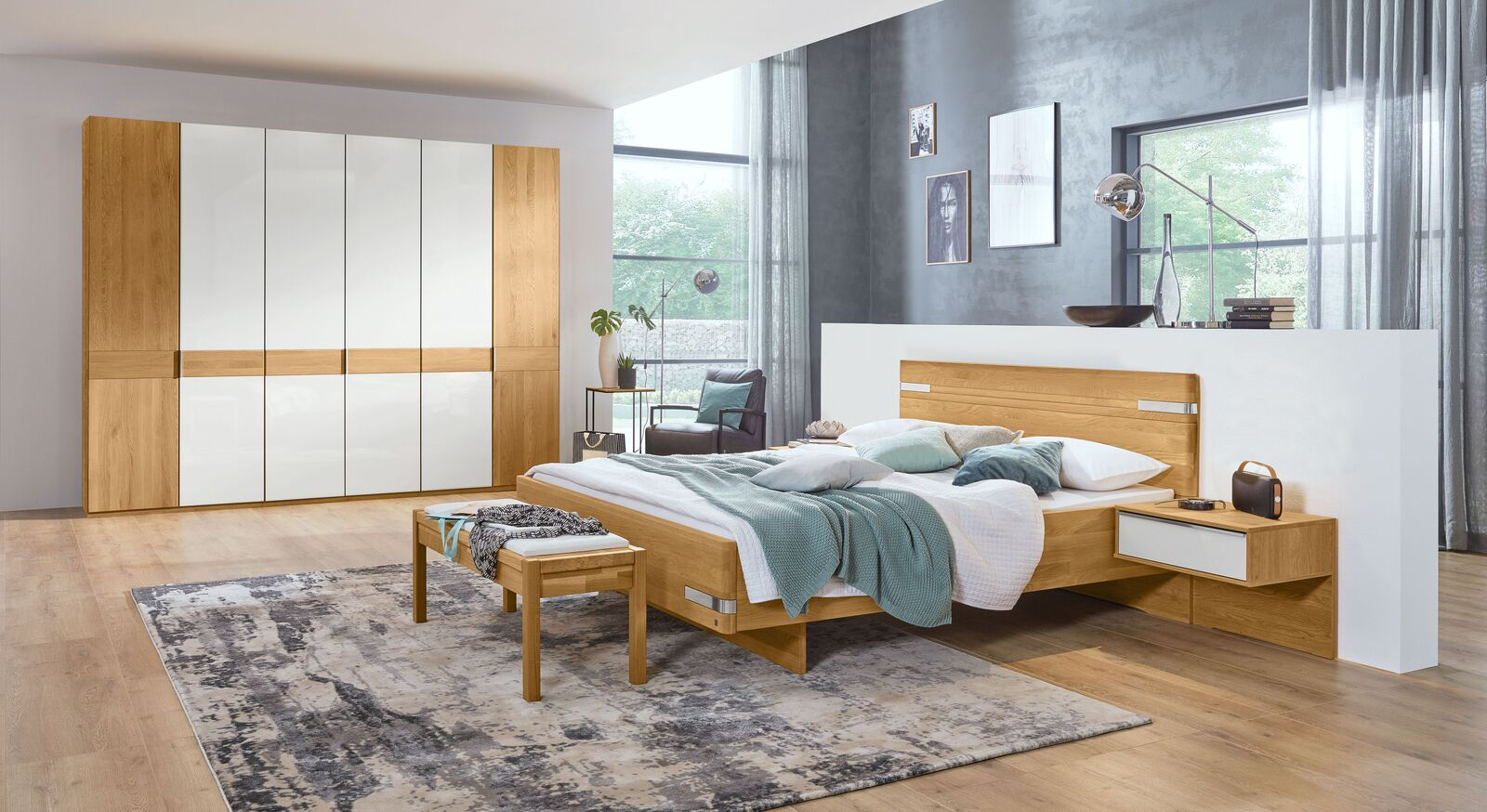 MUSTERRING Schlafzimmer Savona mit Drehtürenschrank in Eiche natur