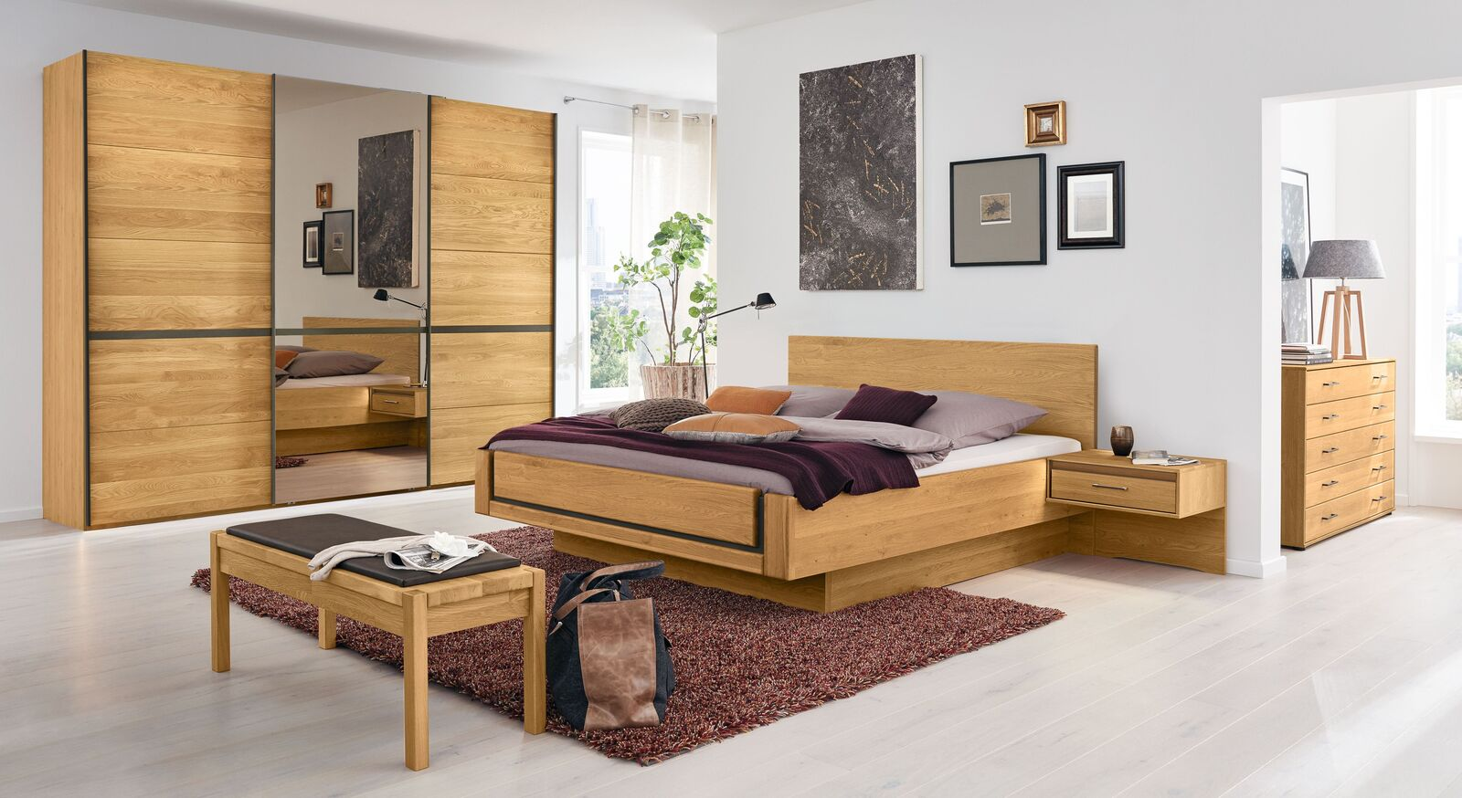 Robustes MUSTERRING Schlafzimmer Sorrent 4-tlg. mit Schwebetüren-Kleiderschrank