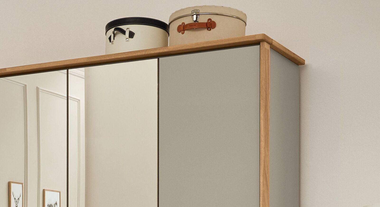 MUSTERRING Spiegel-Kleiderschrank Saphira kieselgrau mit Passepartout-Rahmen