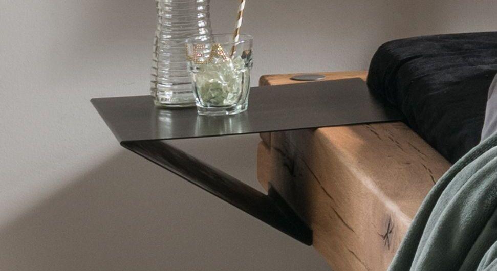 Nachttisch Bimonda aus grau pulverbeschichtetem Metall