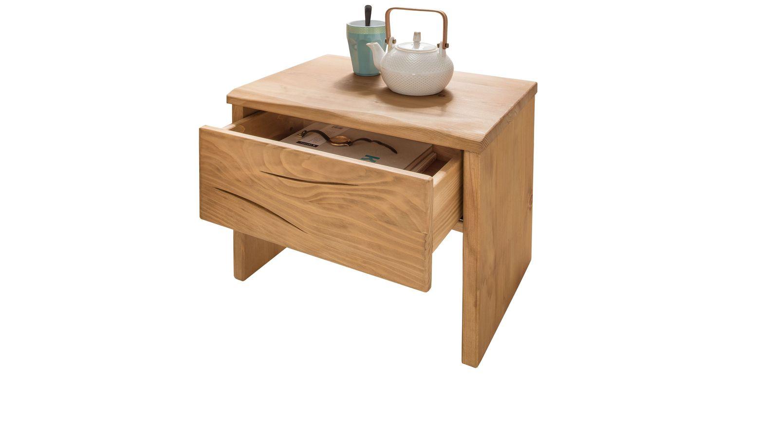 Nachttisch aus massiver Fichte mit leichtgängiger Schublade