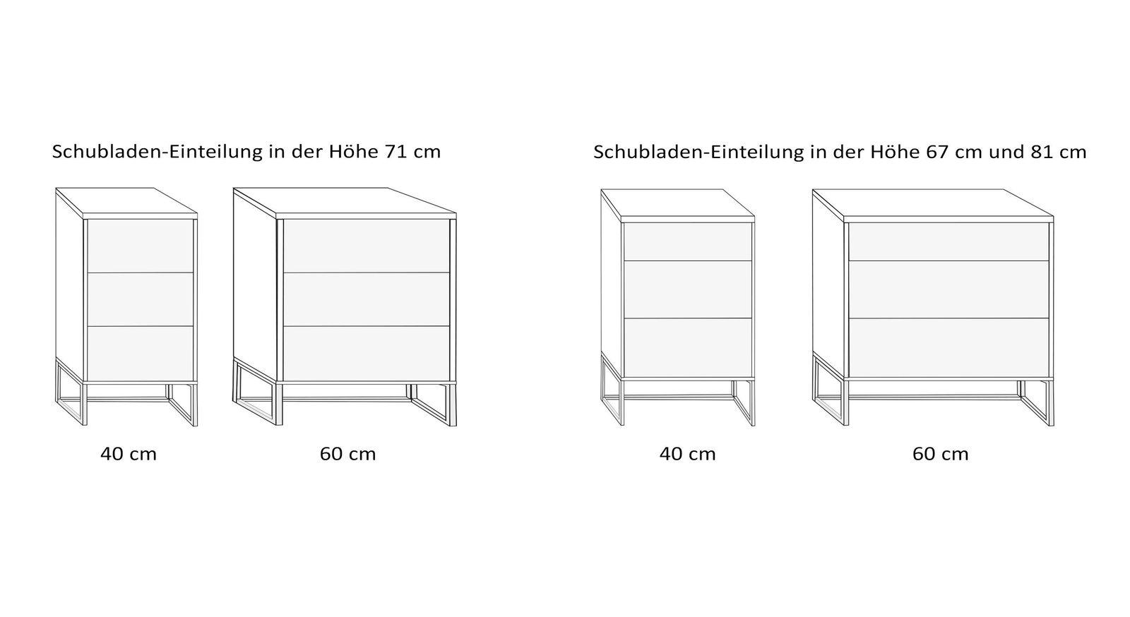 Varianten-Übersicht des hohen Komfort-Nachttisches