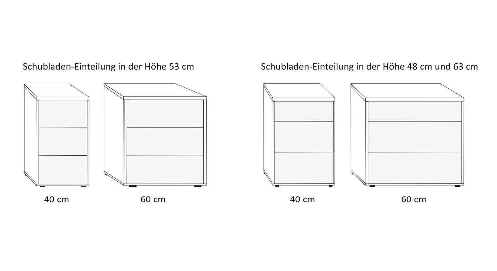 Varianten-Übersicht des Nachttisches in Komforthöhe