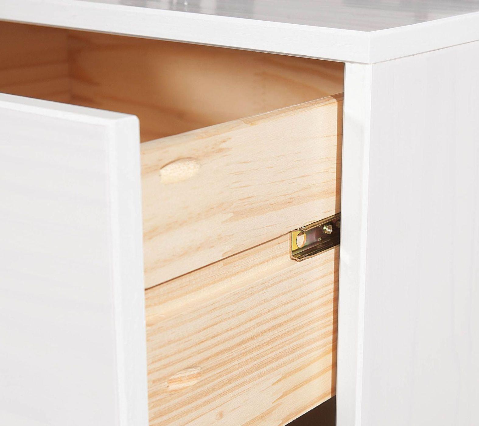 wei er nachttisch g nstig mit schublade kiefer massiv genf. Black Bedroom Furniture Sets. Home Design Ideas