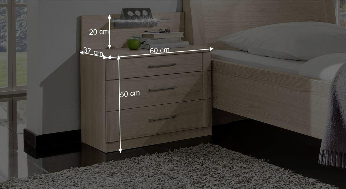 nachttisch g nstig in edel esche dekor mit schubladen. Black Bedroom Furniture Sets. Home Design Ideas
