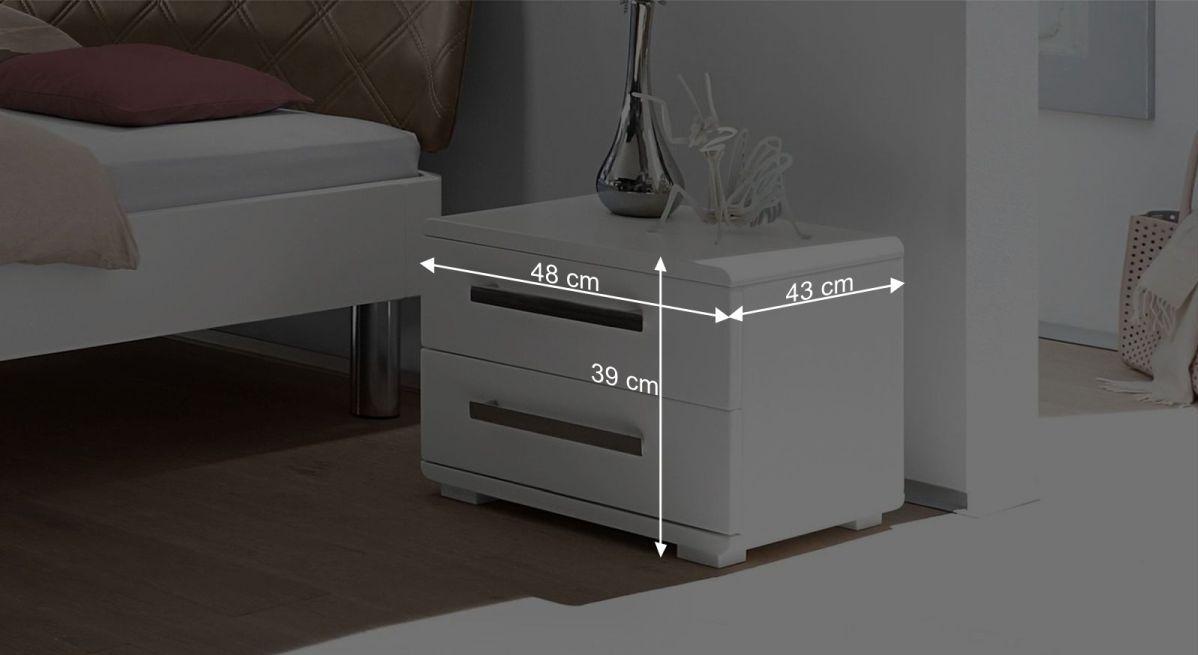 wei er schubladen nachttisch mit w hlbaren griffen perama. Black Bedroom Furniture Sets. Home Design Ideas