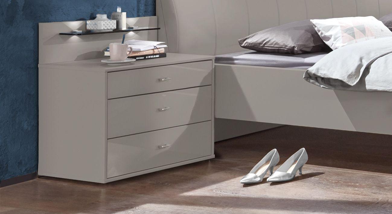 Nachttisch Plymouth Komfort mit unterschiedlich hohen Schubladen