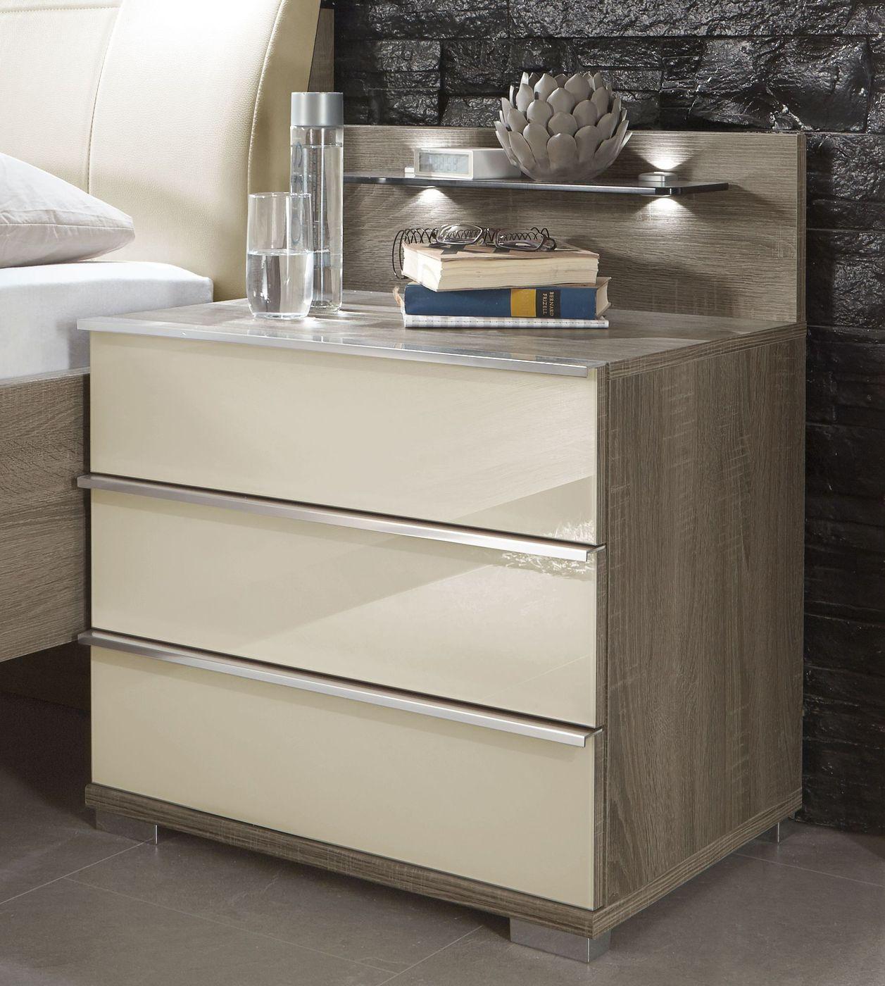 schubladen nachttisch mit glasfronten in magnolie tiko. Black Bedroom Furniture Sets. Home Design Ideas