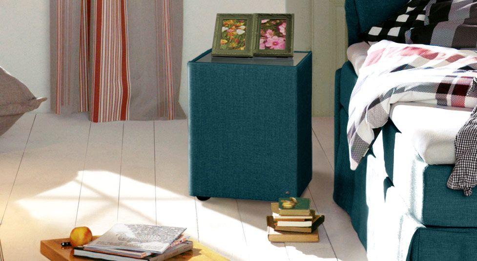 Nachttisch Tom Tailor Cushion mit petrolfarbenem Stoffbezug