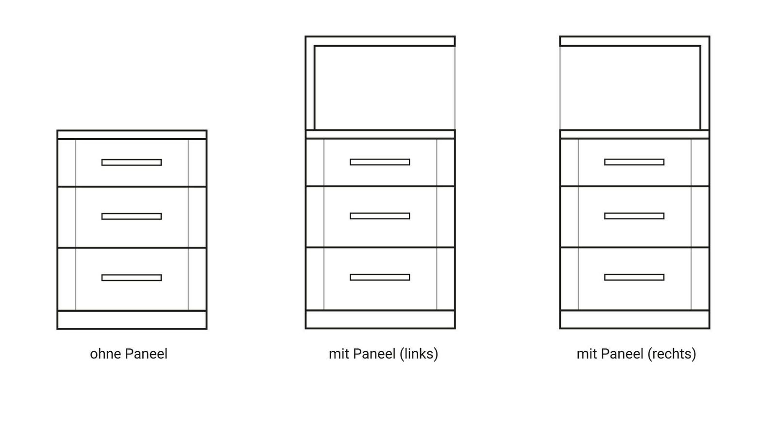 Verschiedene Paneel-Varianten des Nachttischs