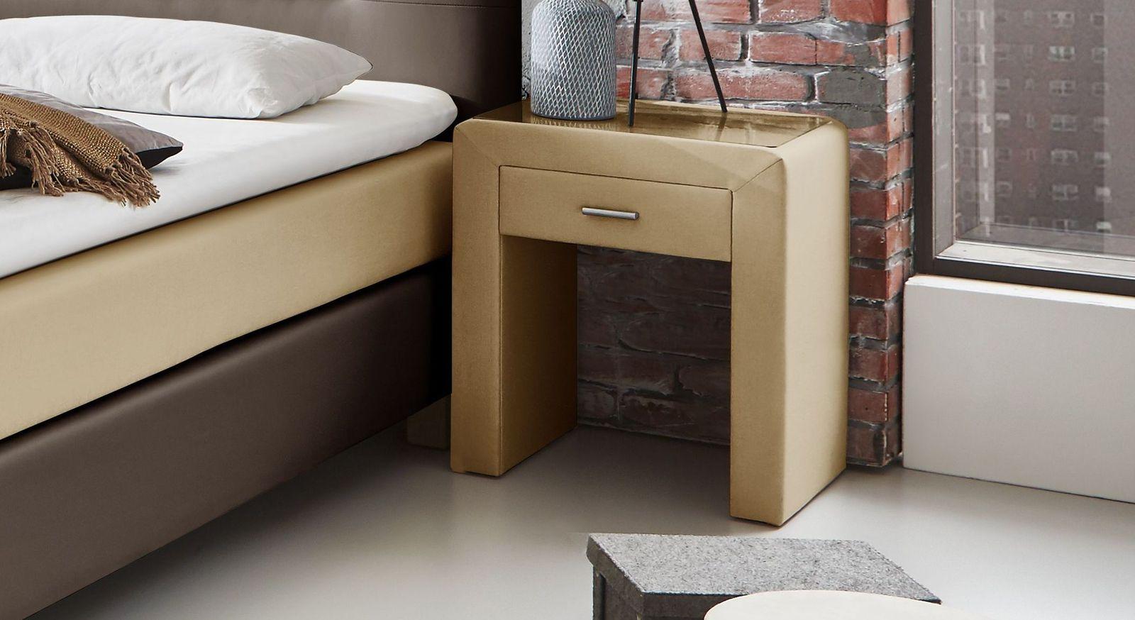 Nachttisch Viterbo Komfort mit praktischer Glasplatte als Ablage