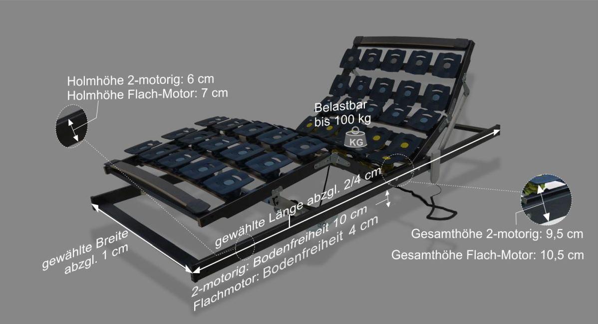 Maße und Infos zum orthowell Lattenrost bestflex motor