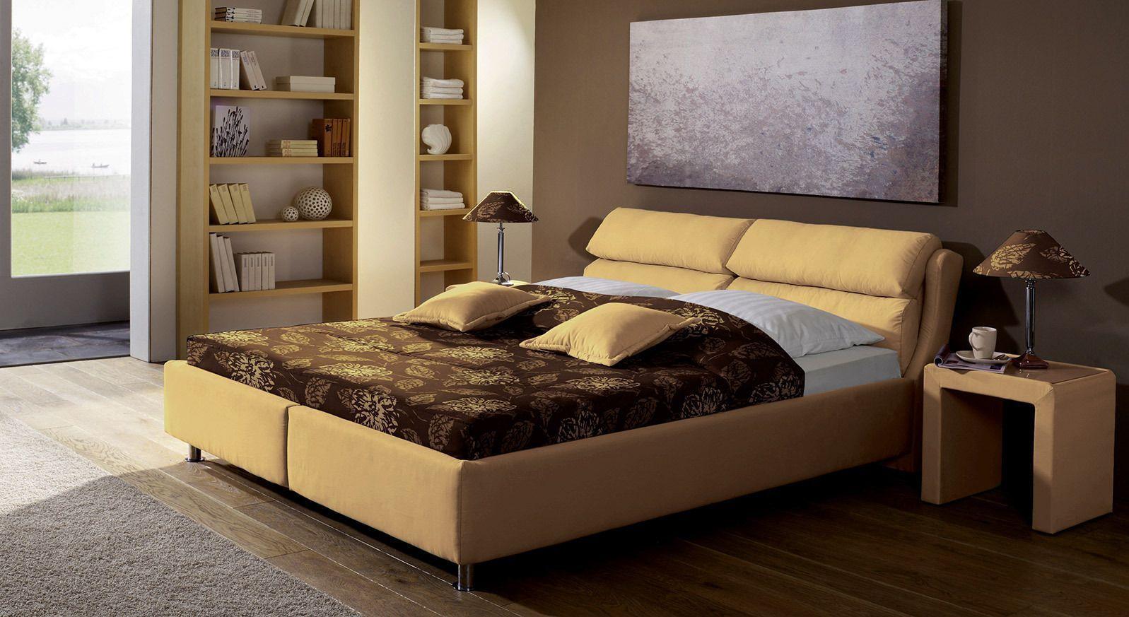 Bett Catania in beige mit verstellbarem Kopfteil