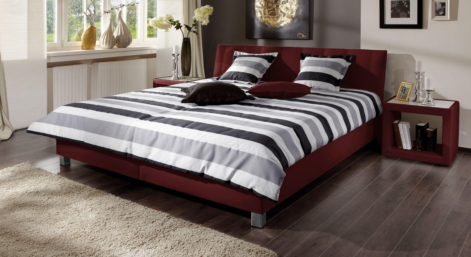 Polsterbett Remigio in Rot mit Bettkasten