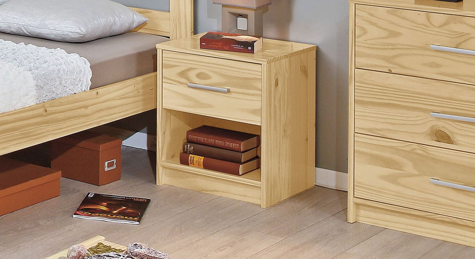 massivholz nachttisch kiefer natur mit schublade g nstig bregenz. Black Bedroom Furniture Sets. Home Design Ideas