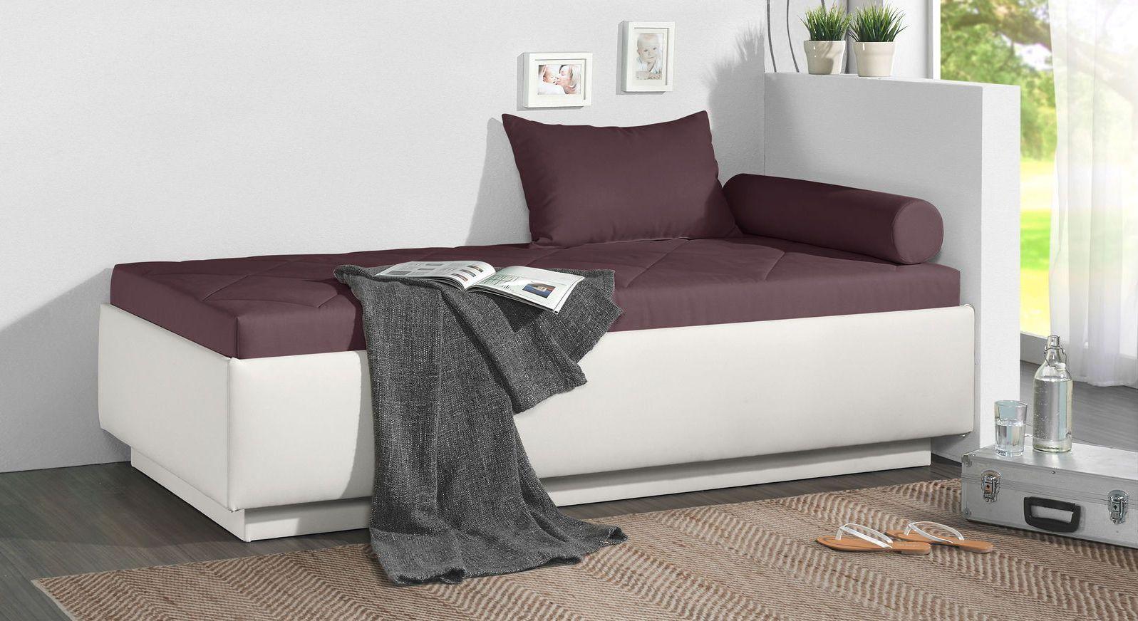 Relaxliege Eriko aus weißem Kunstleder und beerefarbenem Microvelours