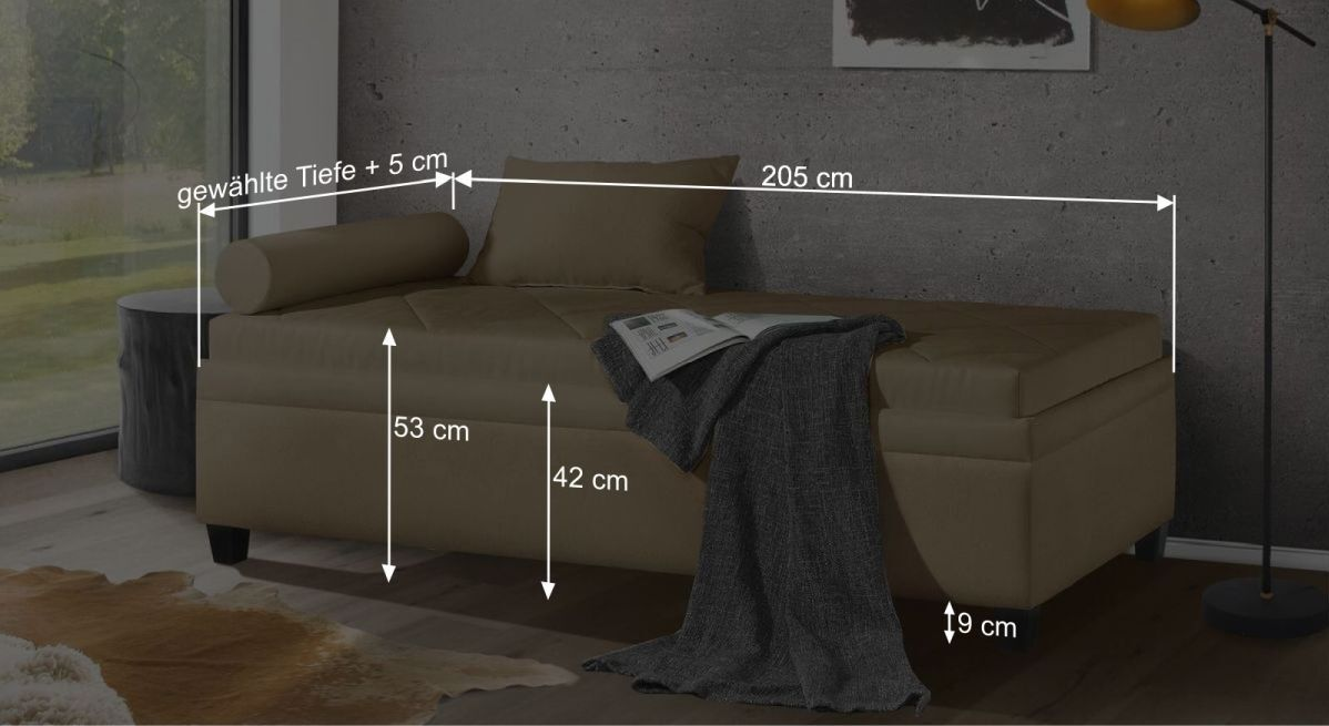 Bemaßungsgrafik zur Relexliege Kamina Komfort
