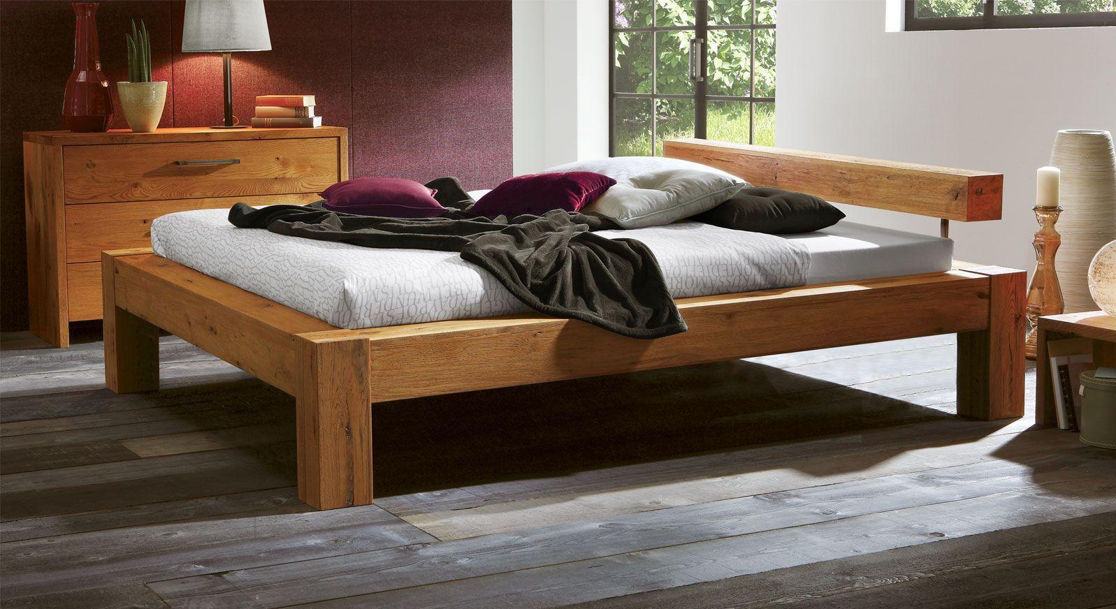 Komforthöhe Bett Rustico aus Wildeiche