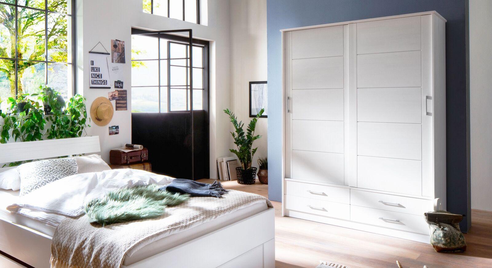 Schiebetüren-Kleiderschrank Ottena mit praktischen Schubladen
