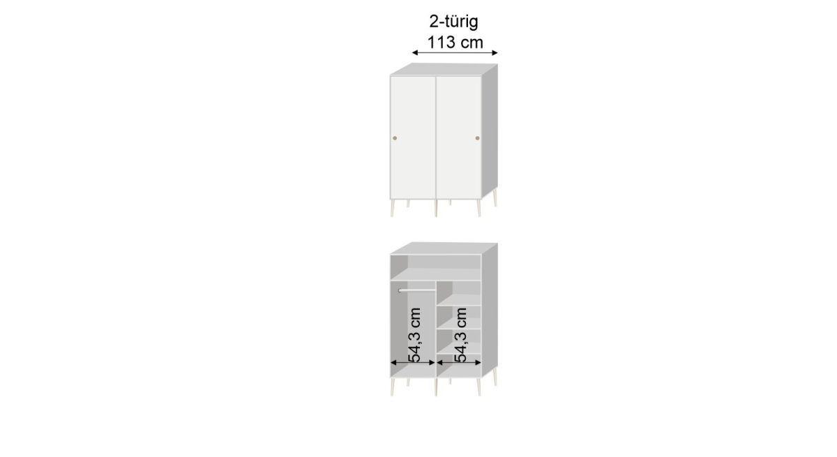 Bemaßungsgrafik zum Schiebetüren Kleiderschrank Zuria Innenaufteilung