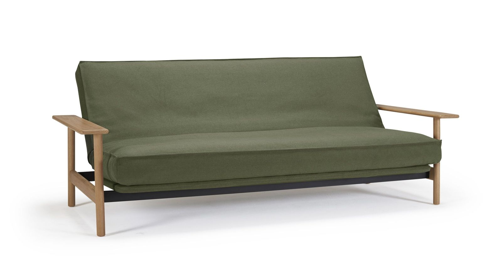 Praktisches Schlafsofa Barrea aus dunkelgrünem Twist