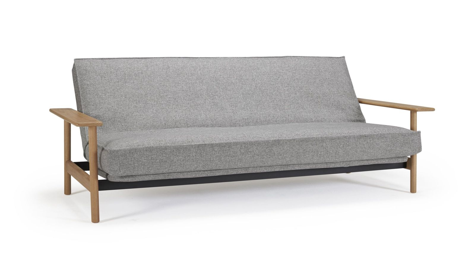 Schlafsofa Barrea aus granitfarbenem Twist-Stoff