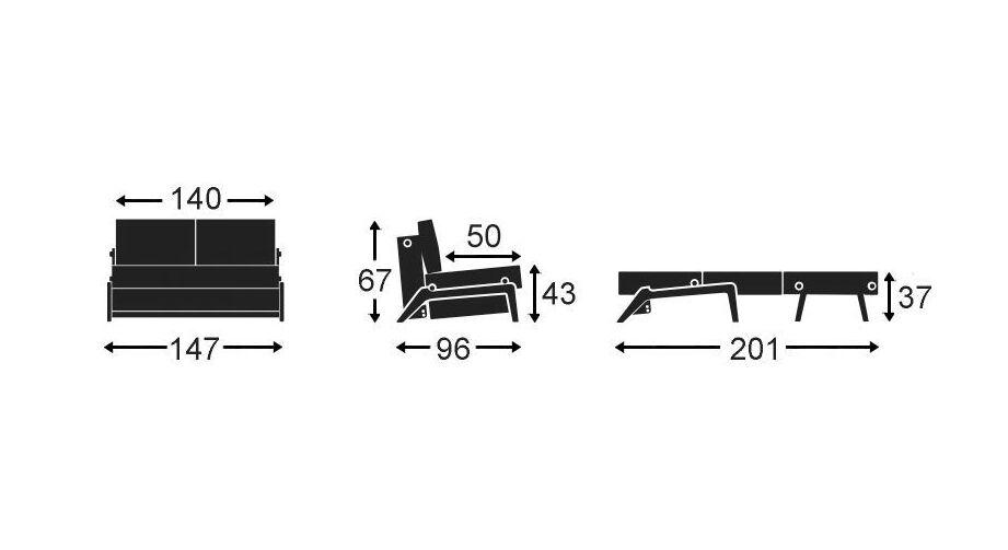 Schlafsofa Carltons Grafik mit 140 cm Breite