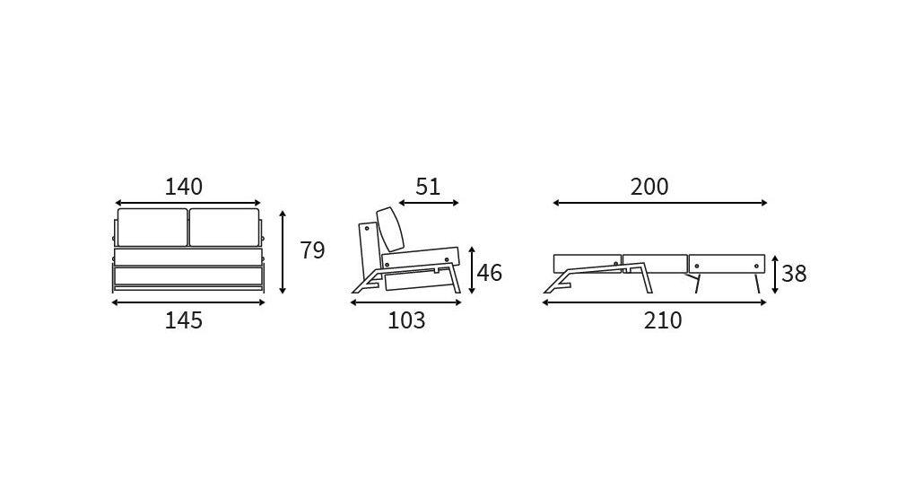 Grafik zum 140 cm breiten Schlafsofa Dowing