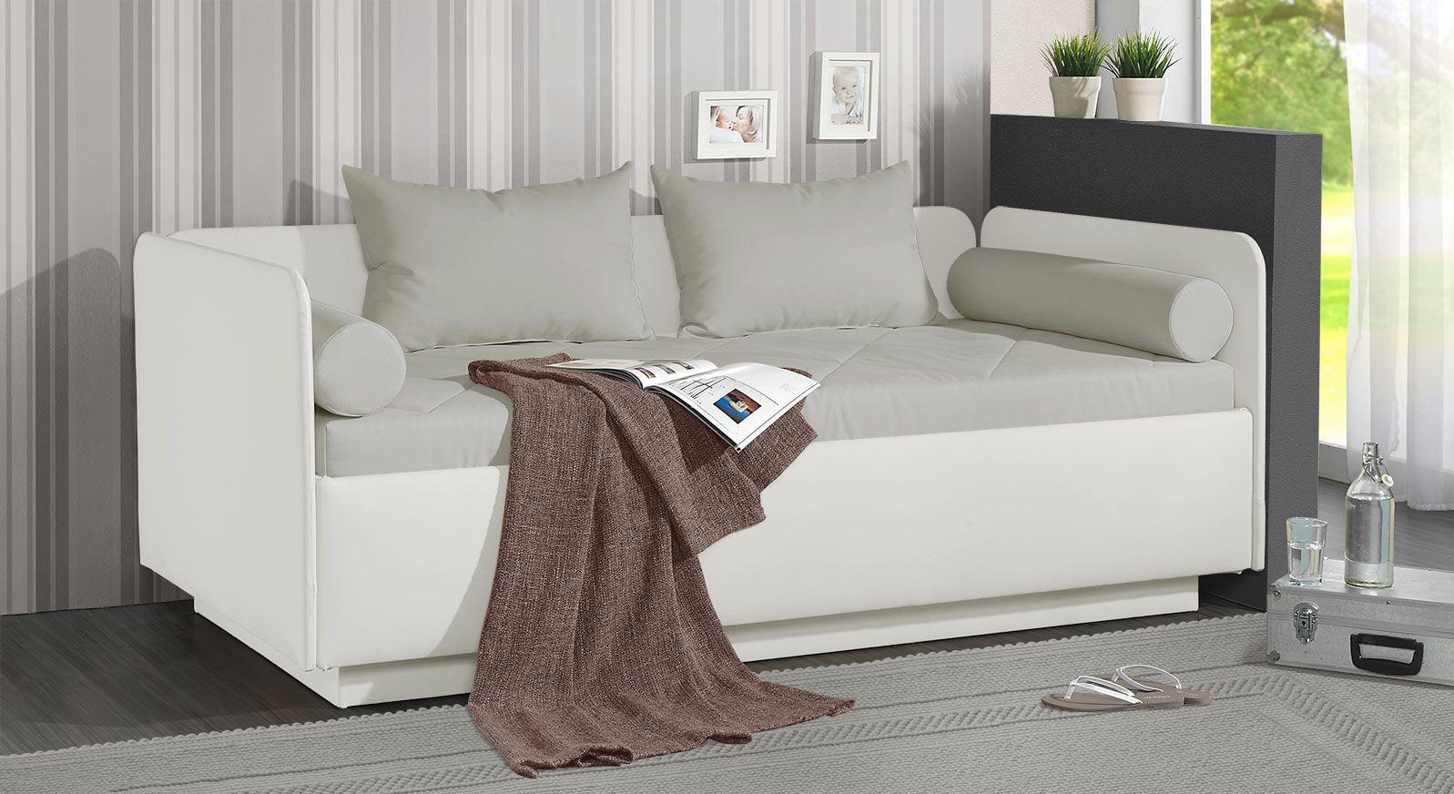Schlafsofa Eriko aus weißem Kunstleder und hellgrauem Microvelours