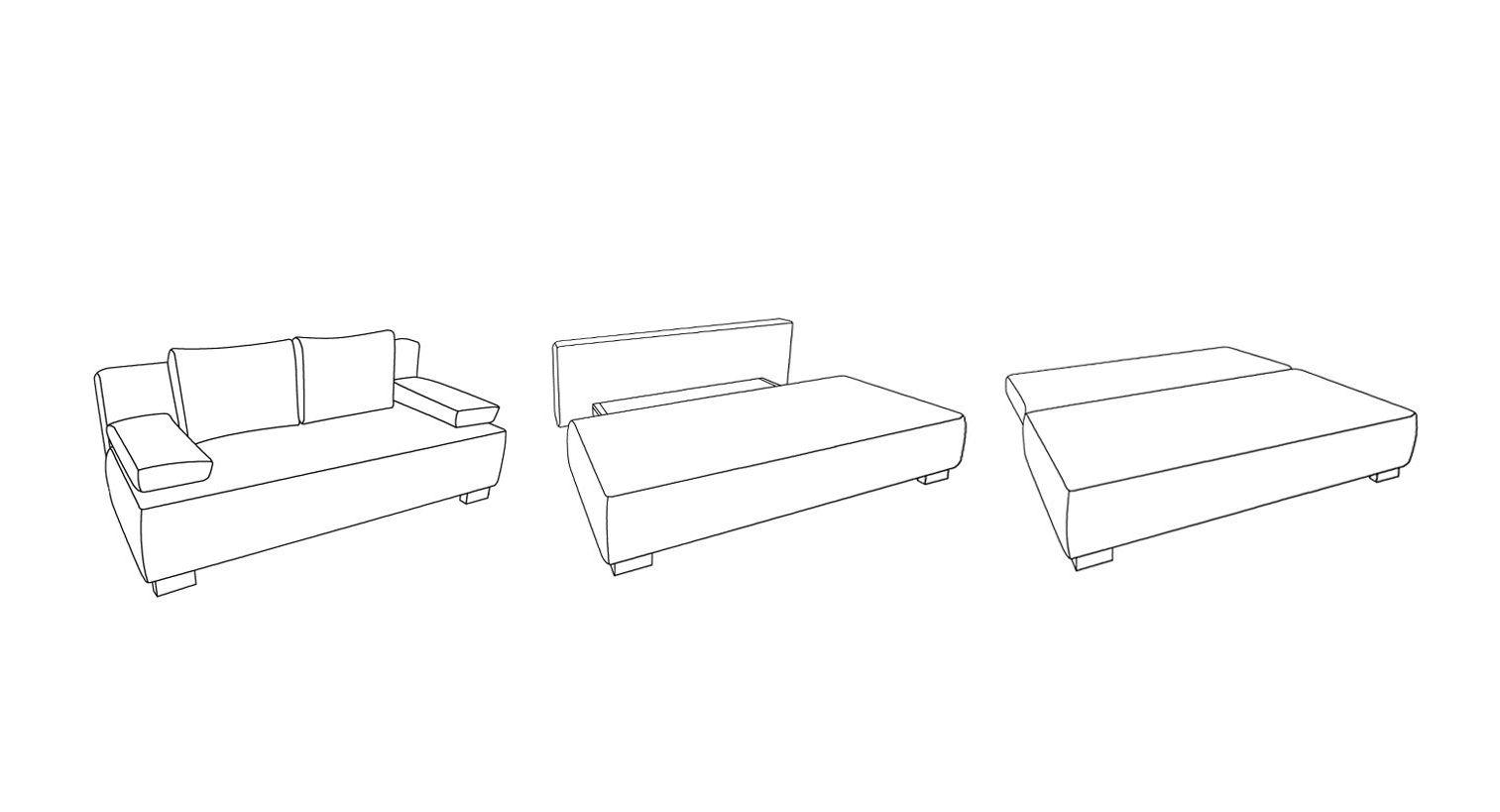 Grafik zur Umwandlung des Schlafsofas zum Doppelbett