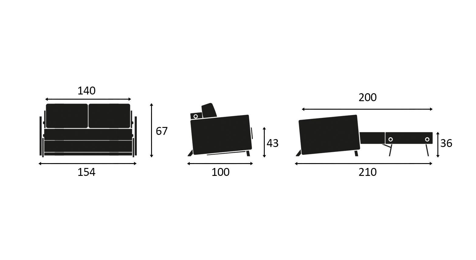 Maßgrafik zum Schlafsofa Kuda in 140 cm Breite