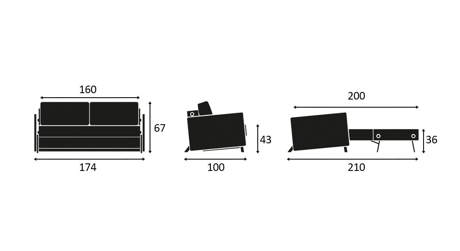 Maßgrafik zum Schlafsofa Kuda in 160 cm Breite