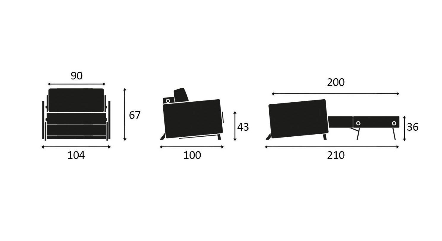 Maßgrafik zum Schlafsofa Kuda in 90 cm Breite