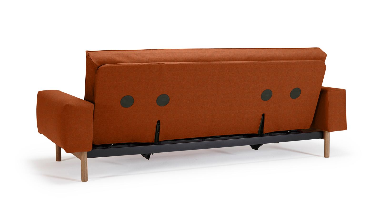 Schlafsofa Nereto mit mattschwarzem Sofagestell aus Edelstahl