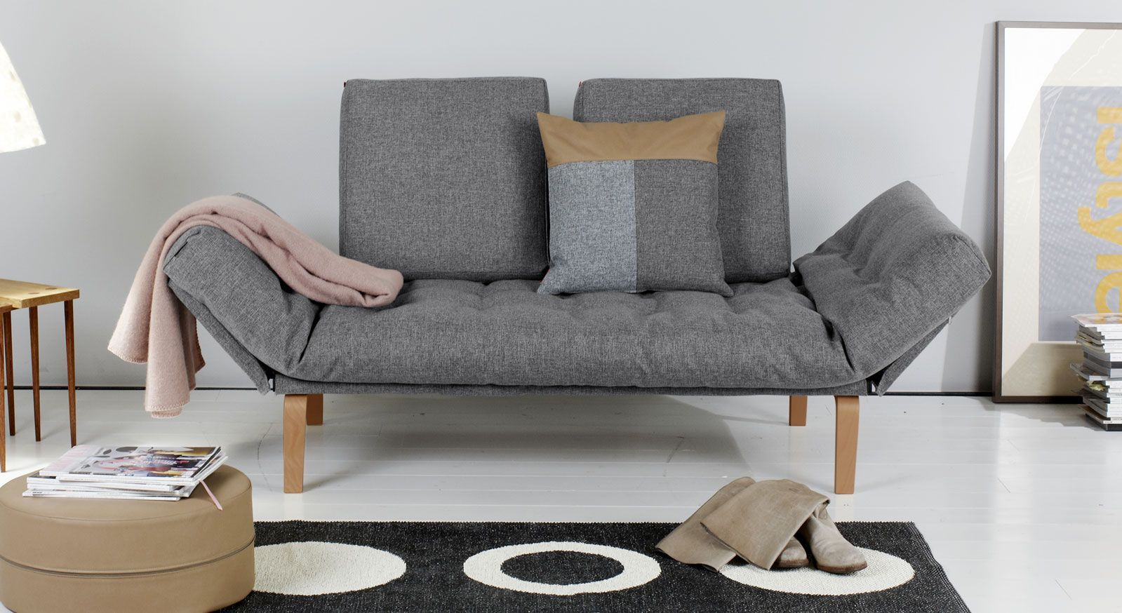 Schlafsofa Steward in grauem Twist-Webstoff