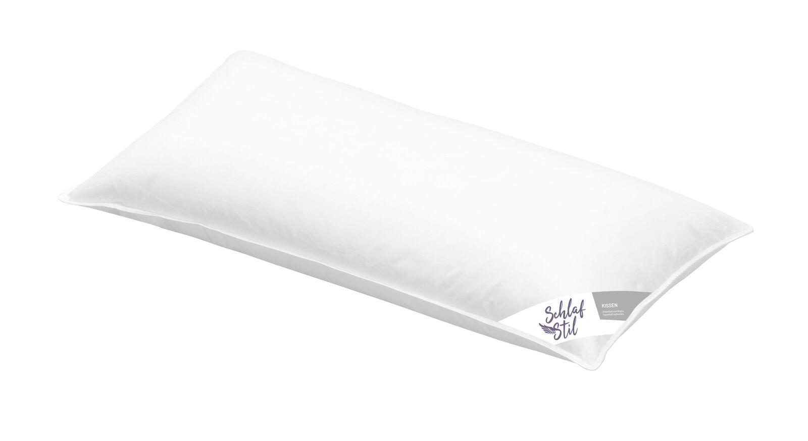 SCHLAFSTIL Markenfaser-Kissen F200 in 40x80 cm mit ungestepptem Bezug